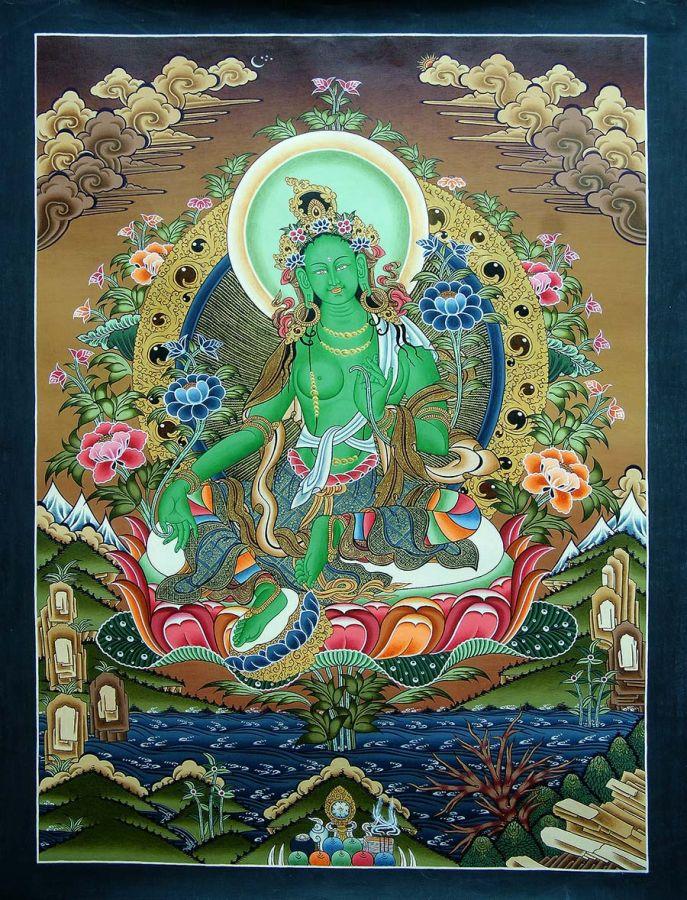 Green Tara 3: Tibetan Thangka : Green Tara Thangka, USD: $200, Size :62