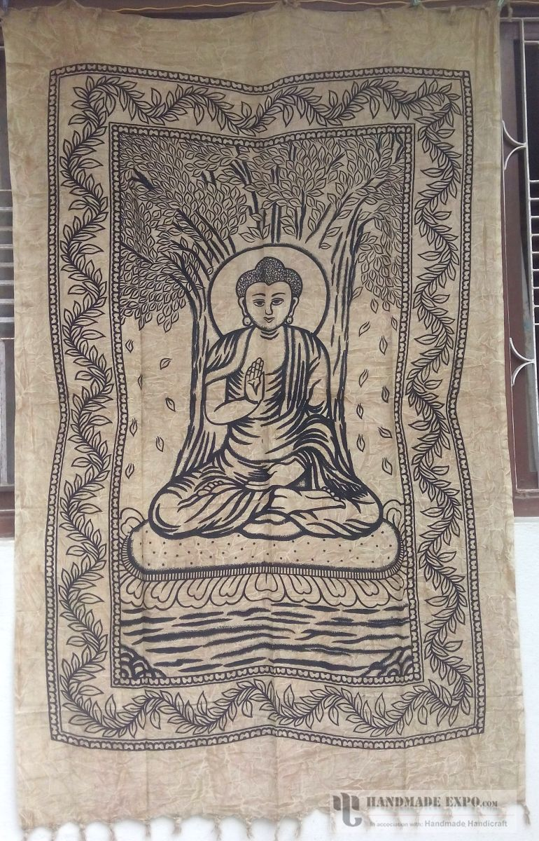 Handmade bed sheets design - Buddha Design Bed Sheet Handmade Handicraft Bed Sheets Bed Sheets Buddha Design Bed Sheet Cotton