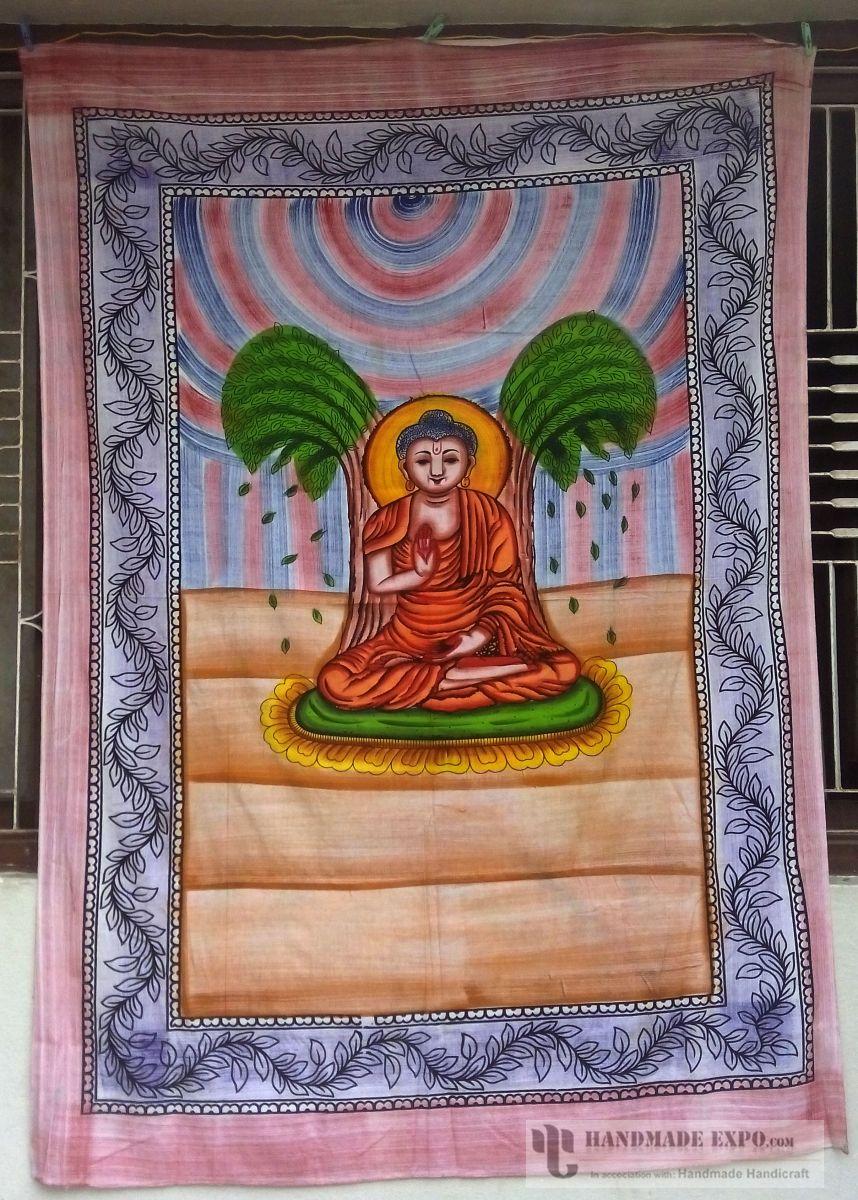 Handmade bed sheets design - Painted Buddha Design Bed Sheet Handmade Handicraft Bed Sheets Bed Sheets Painted Buddha Design Bed Sheet
