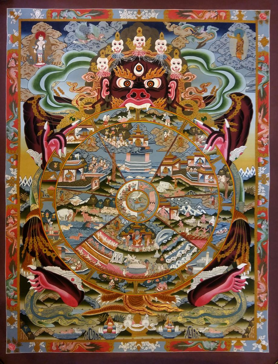 The Wheel Of Fortune Tarot Card Meaning In Readings The: WHEEL OF LIFE :: Handmade Handicraft-> TIBETAN THANGKA