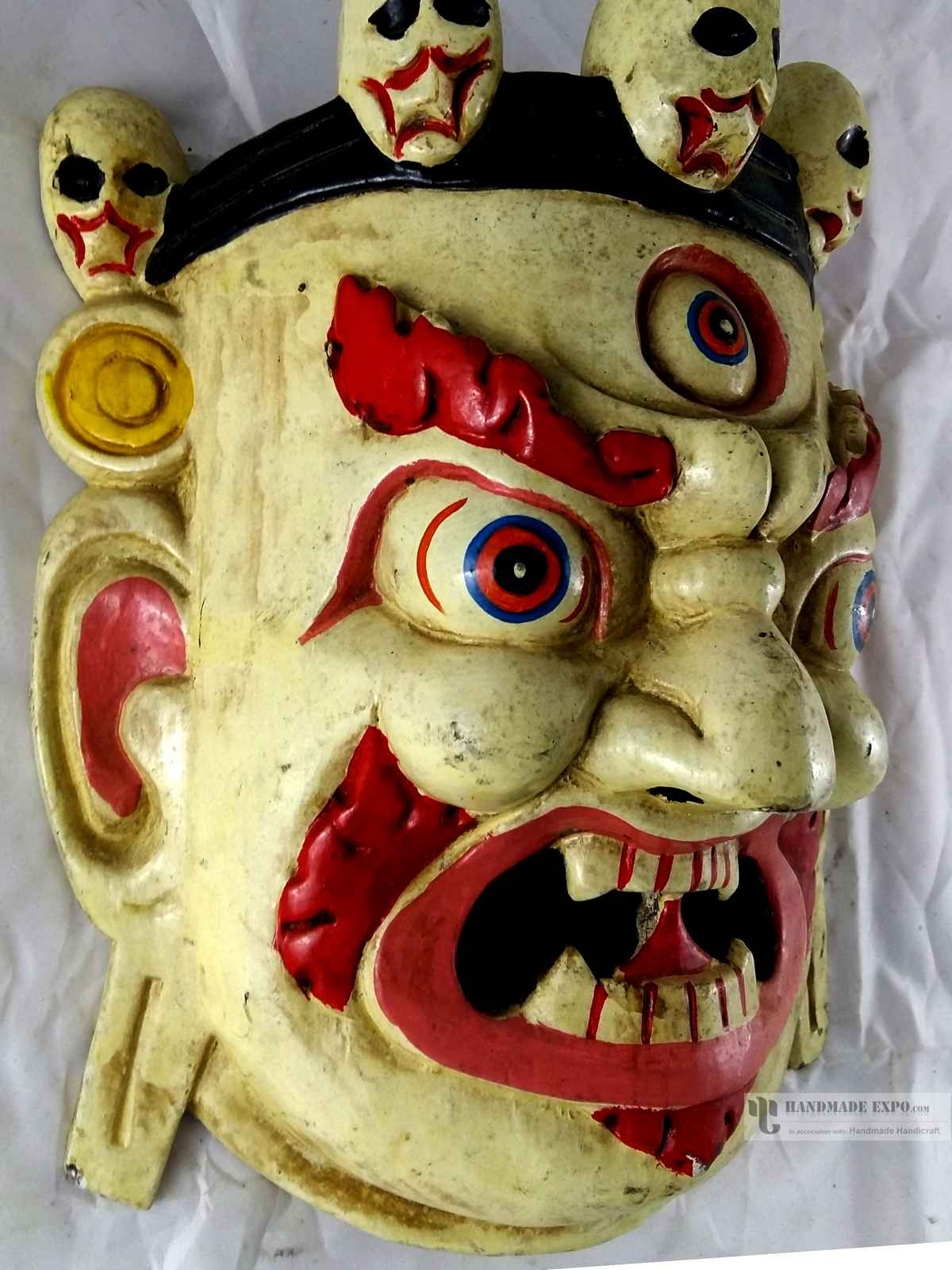 WHITE MAHAKALA HEAD PAINTED WOODEN MASK FOR DECORATIVE WALL HANGINGS ...