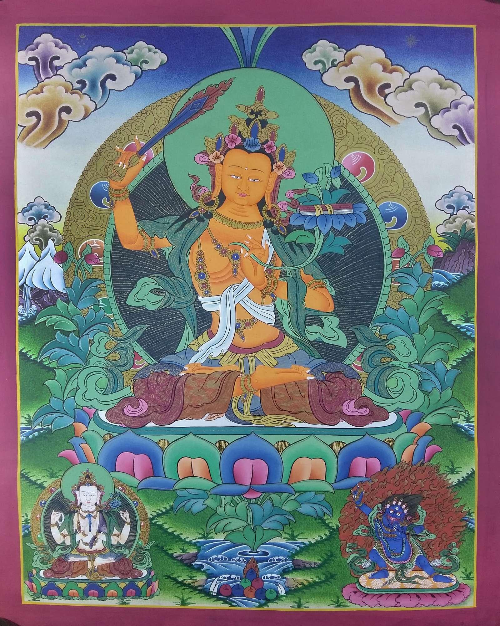 Thangka- Figures : Tibetan Thangka Arya Manjushree With Chenrezig And Vajrapani, USD: $150, Size :50x38 cm, Material :Handmade Canvas