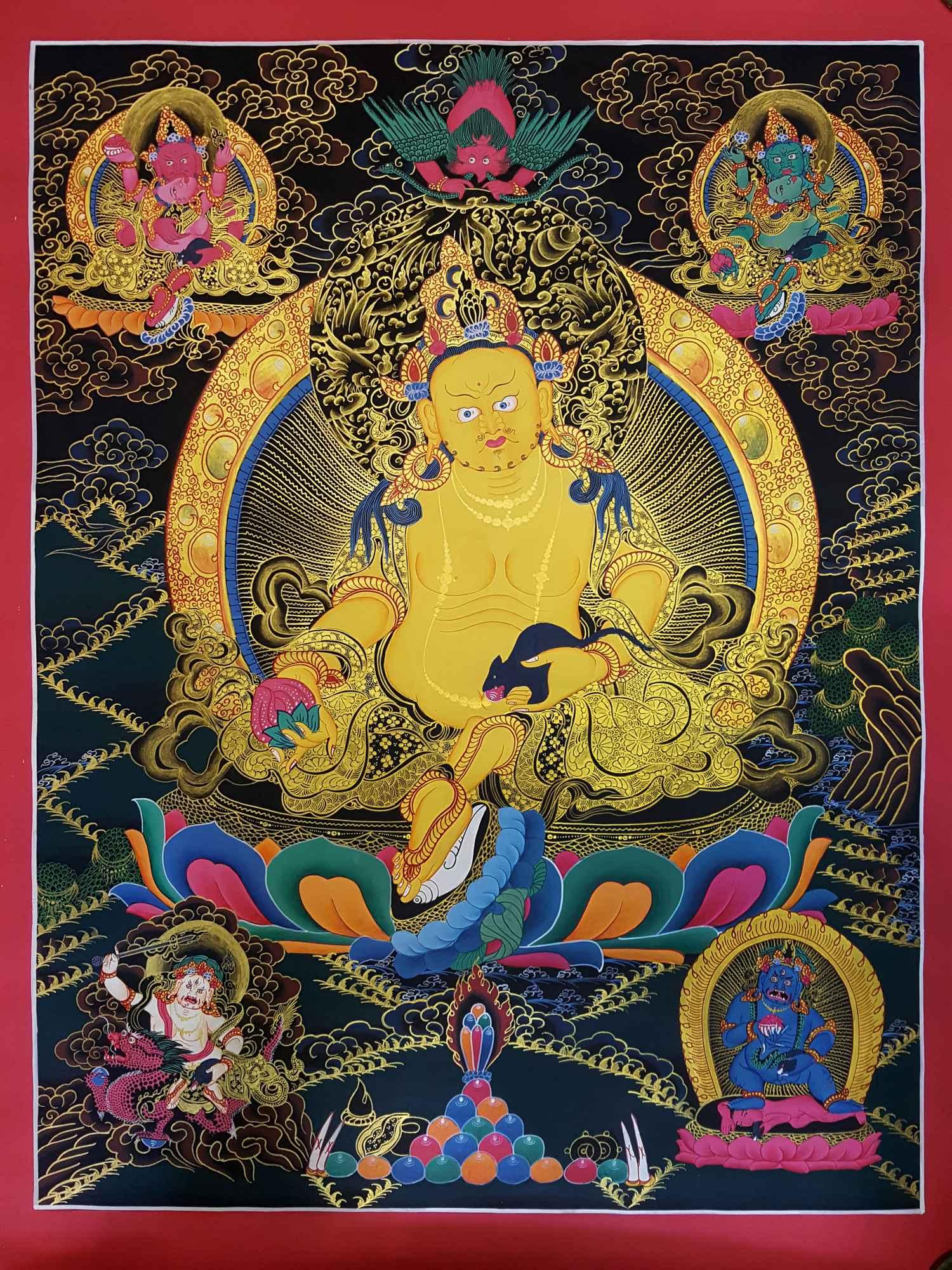 PANCHA KUBER [ FIVE JAMBALA] [DZAMBHALA] THANGKA [TIBETAN STYLE ...