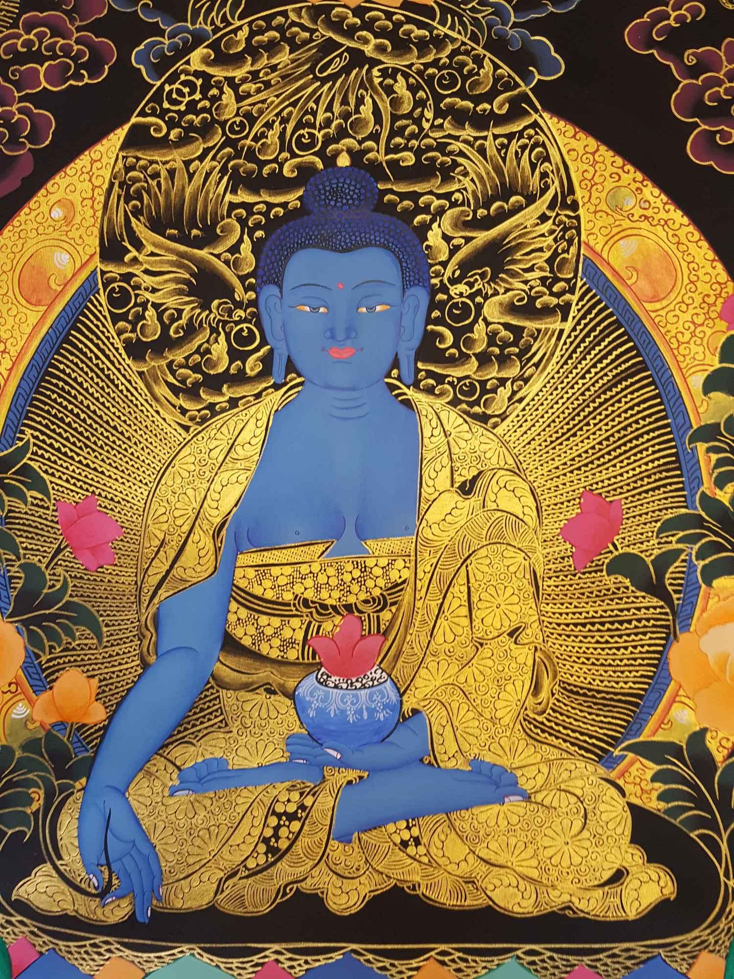 MEDICINE BUDDHA THANGKA [TIBETAN STYLE] [PAINTING] :: Handmade ...