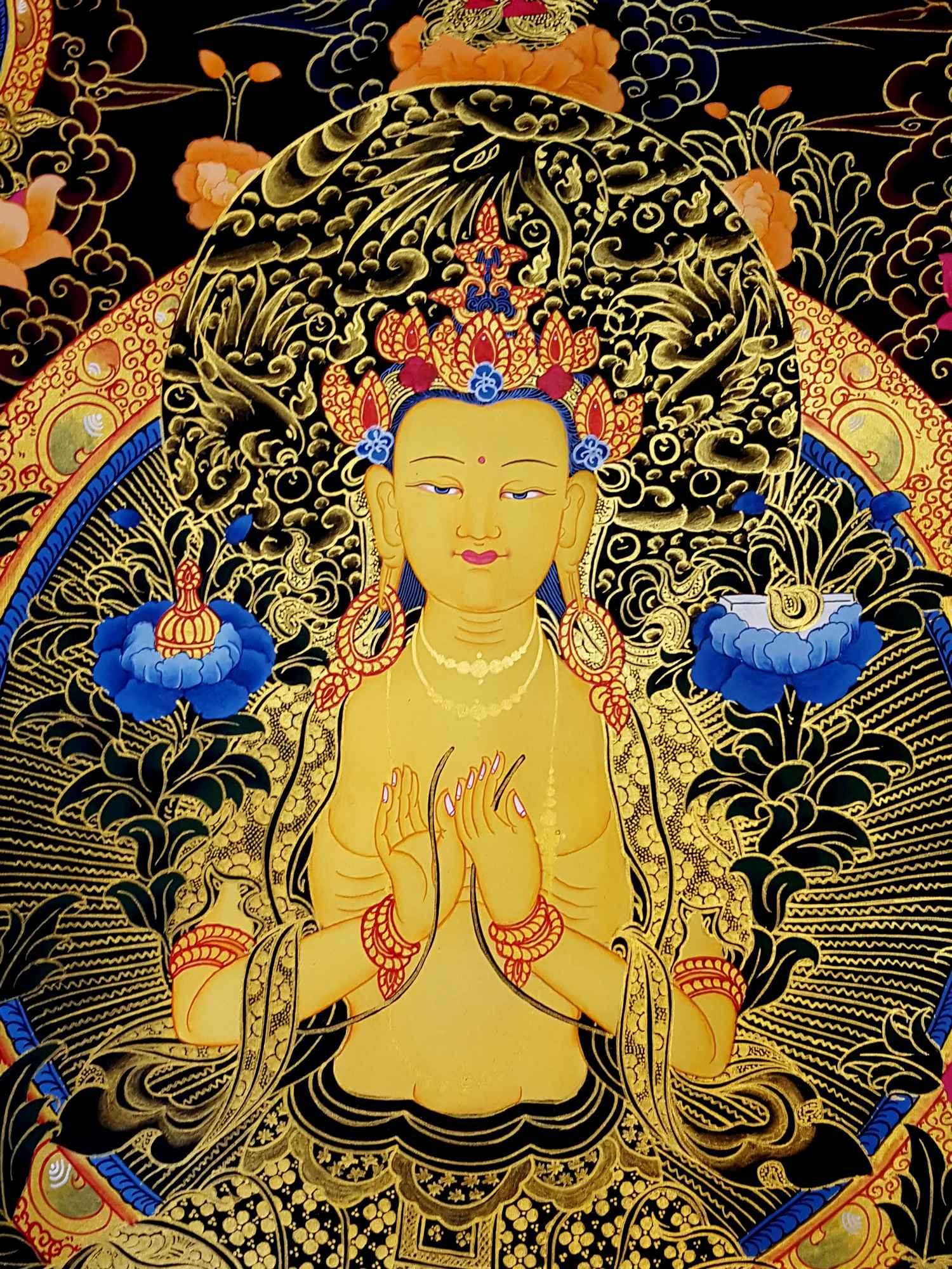 Tibetan Thangka Maitreya Buddha Future Buddha Thangka