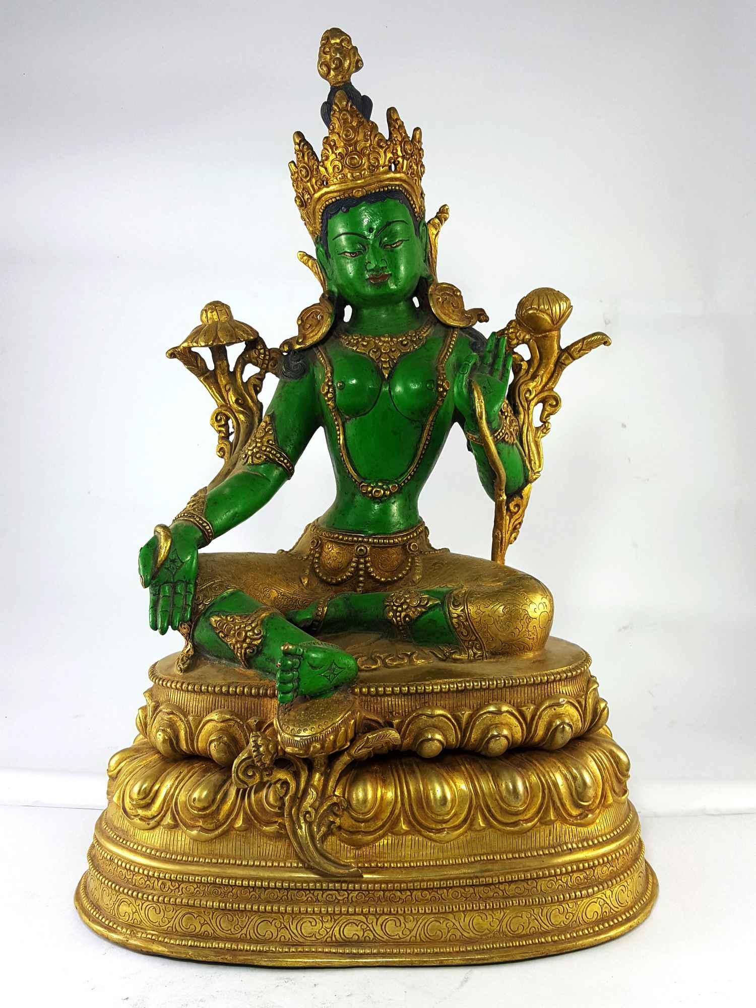 917788c13fd Green Tara Partly Gold Plated Handmade Statue  Thangka Color Finishing
