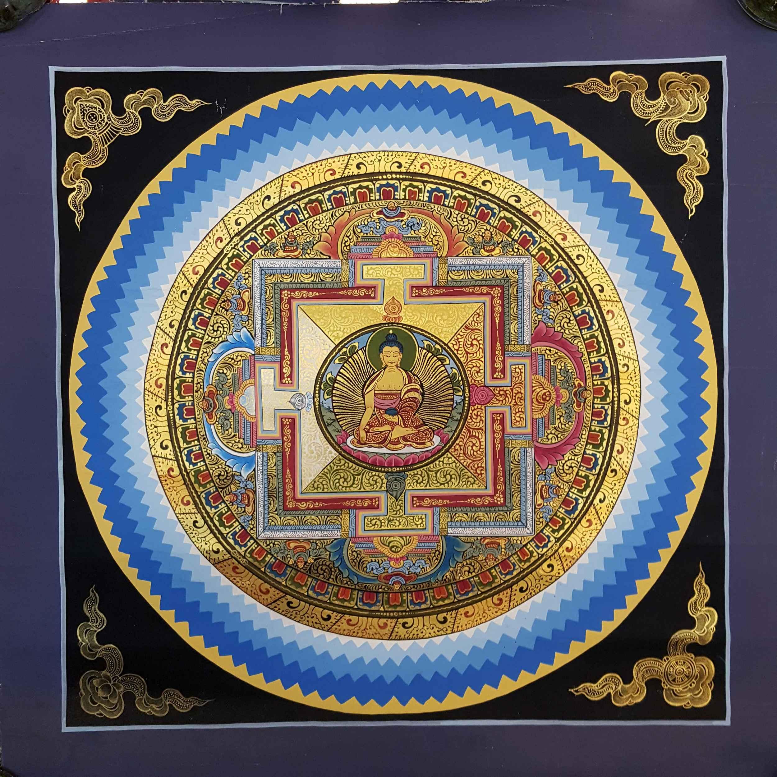 Baocicco 10x10ft Indian Golden Brahmanism Mandala Buddhism Mandala Lotus Photography Background Backdrop Bohemian Sparkly Meditation Mandala Wall Geometric Medallion Vinyl Photo Studio Props