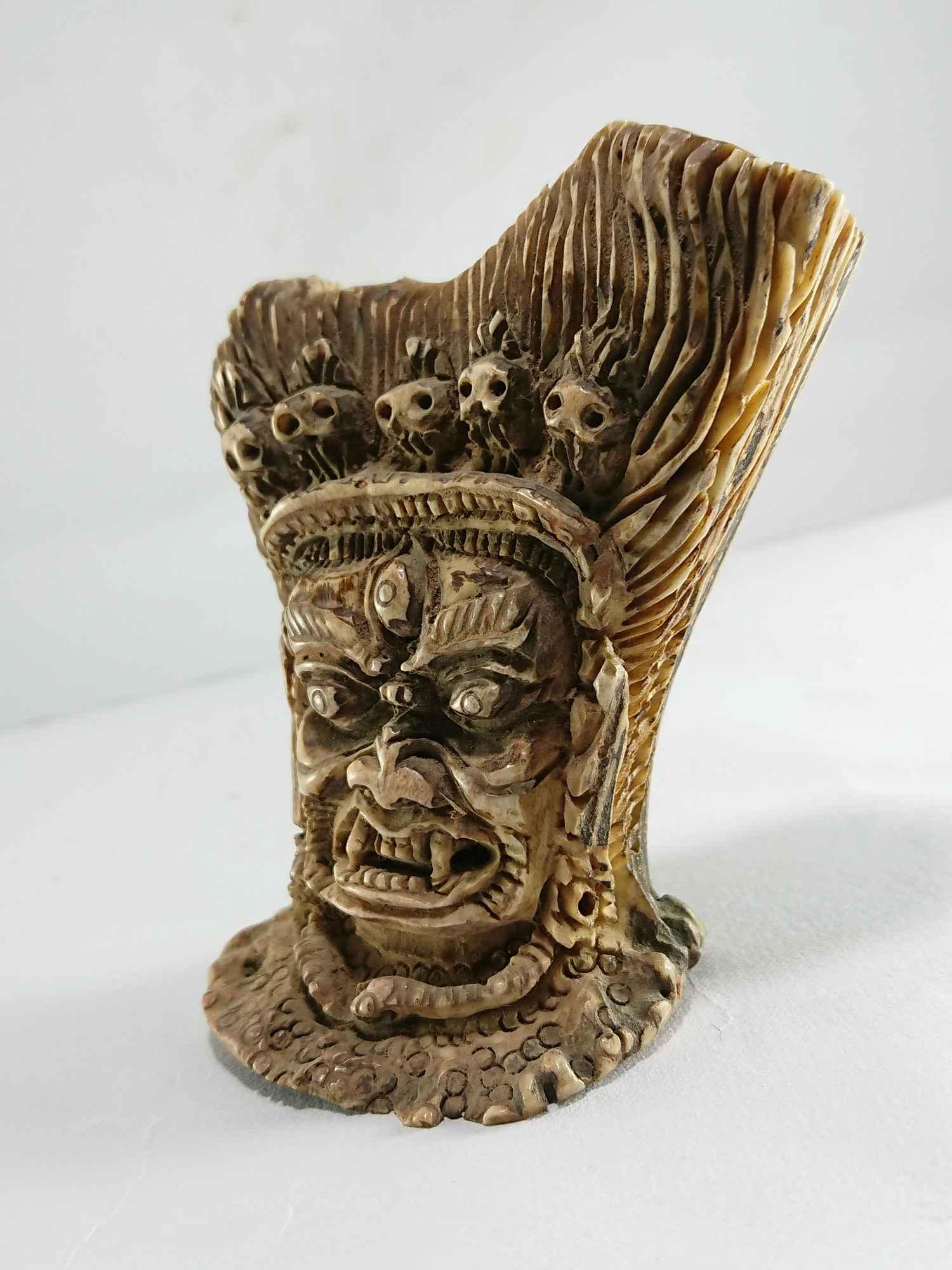 Buddhist Ritual Objects Rare Tibet Tantra Old Cattle Bone Carved Mahakala Head Usd 70 Size 8 5x5 Cm Material Yak Bone
