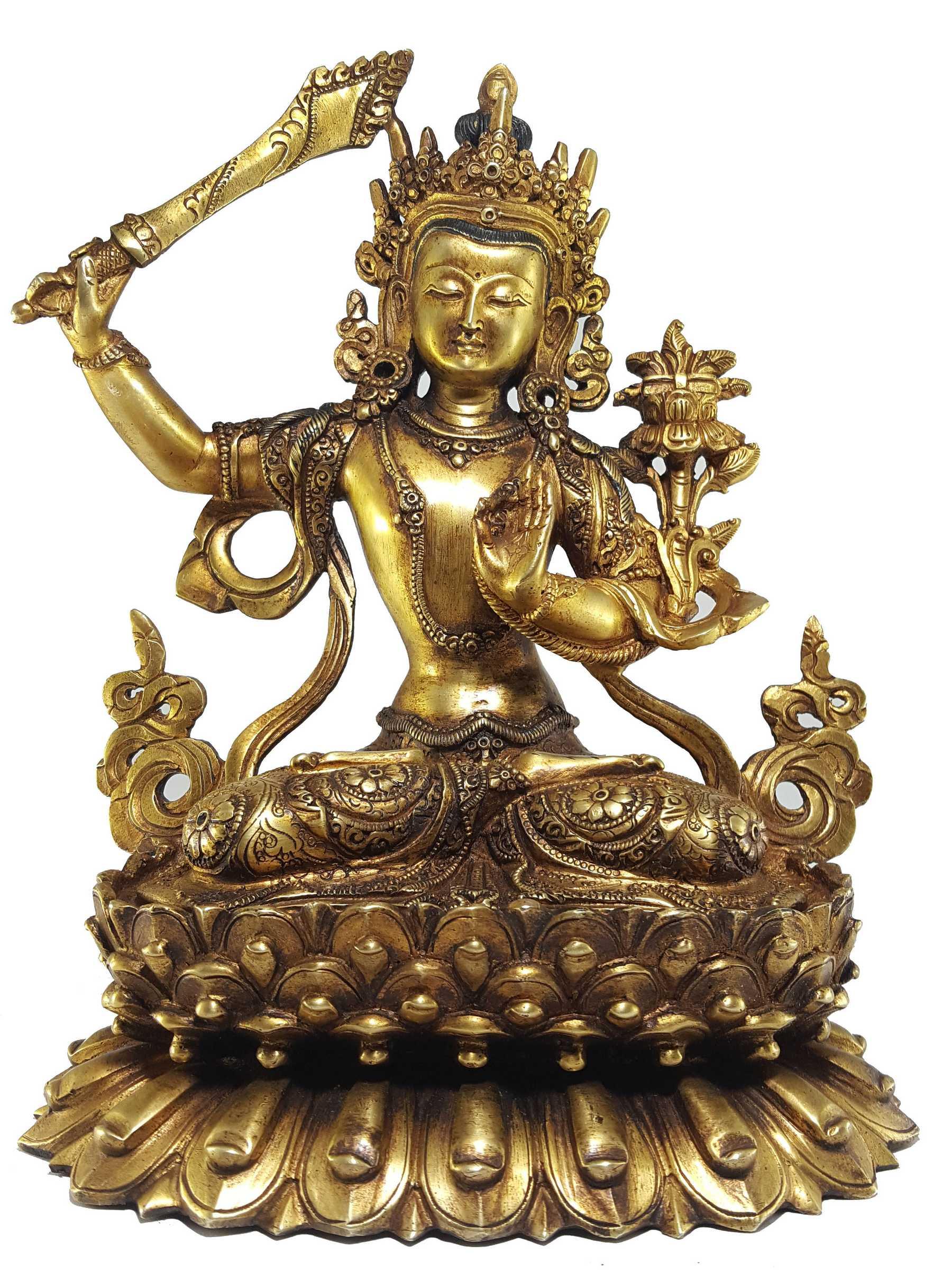 8bfe2f42b74 Manjushree Statue Full gold Plated with antique finishing and Double lotus  Base