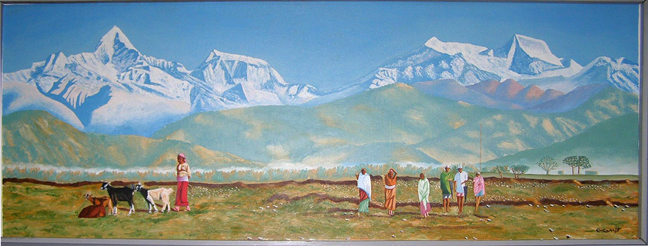Oil Painting Nepali Landscape Oil Painting Usd 150