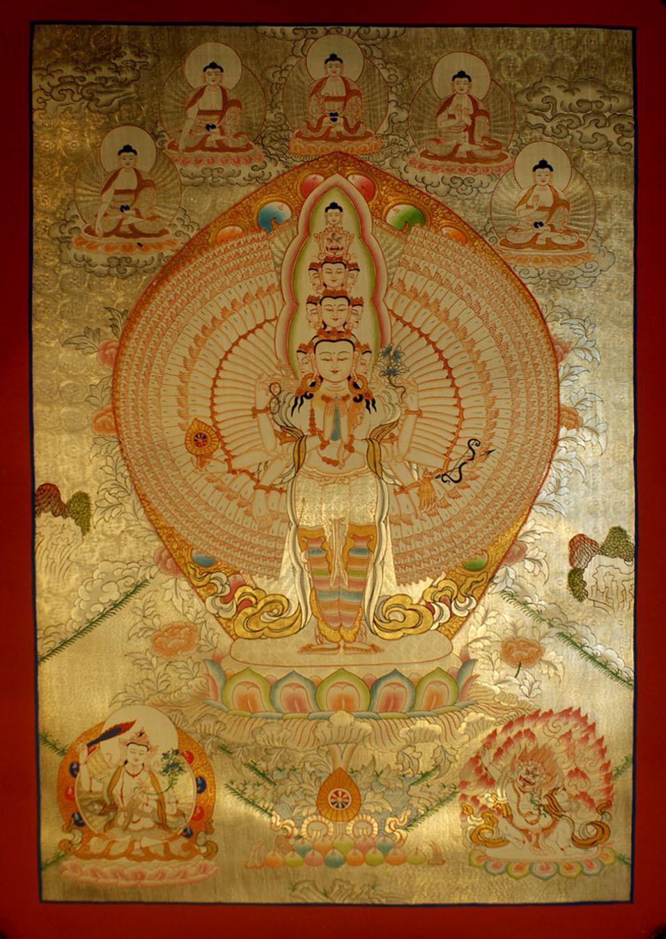 SAHASRABHUJA AVALOKITESVARA THANGKA IN REAL GOLD WITH ... Spiritual Healing Album