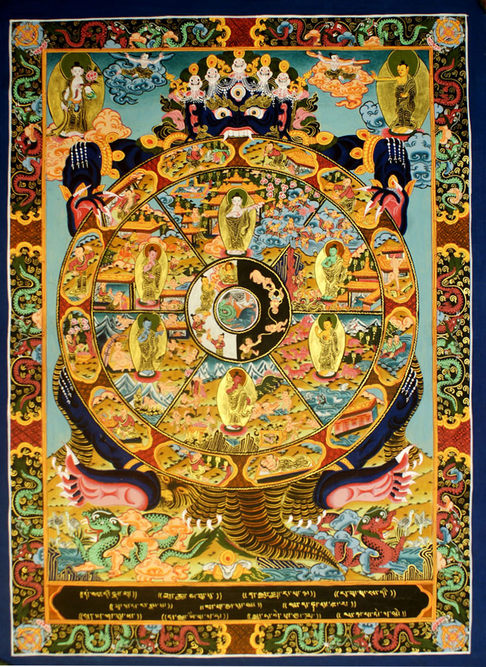 WHEEL OF LIFE :: Handmade Handicraft-> TIBETAN THANGKA,Wheel of life ...