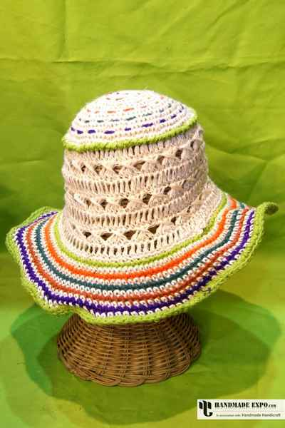 Hemp Knitted Hat with Rainbow Knitting-11061