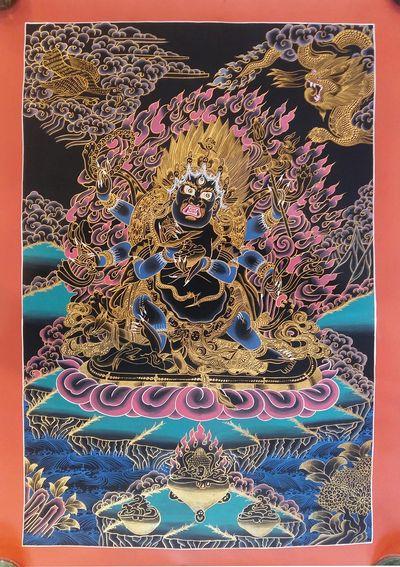 Tibetan Thangka : Mahakala,Real Gold Mahakala Thangka, Hand