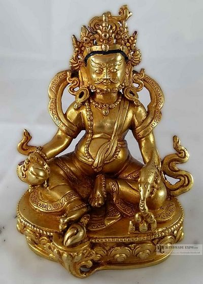 Statue of Yellow Jambala- Full Fire Gold Plated-12677