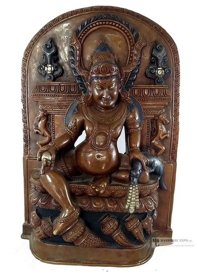 Rare Statue of Jambala  (Kubera) Full Solid Metal Double Colored -12688