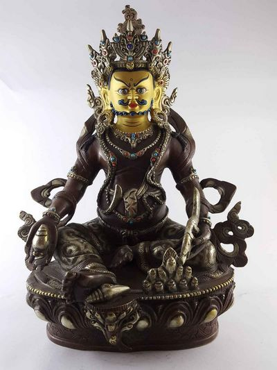Yellow Jambala Statue -[Copper] [Silver Painted] [Gold Plated Face] [Dark Chocolate Oxidized]-13386