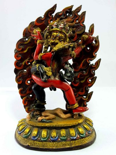 Black Jambala Shakti Handmade Statue [Thangka Color Finishing]-15001