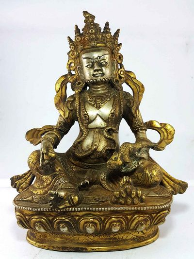 Dzambala, Yellow jambala Partly Gold and Silver Plated  Handmade Statue [Thangka Color Finishing]-15007