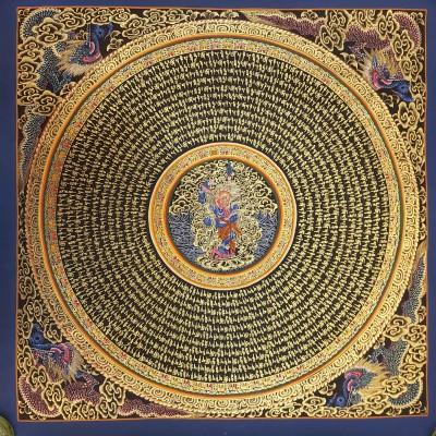 Tibetan Wall Hangings-TIBETAN THANGKA , Om Mani Padme hum Mandala