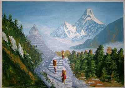 Everest Trek Oil painting-4453